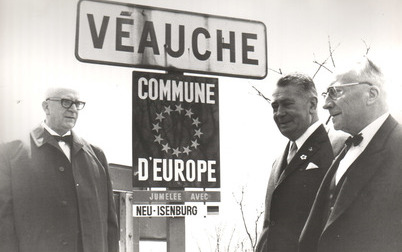 Ortsschild Veauche Commune d'Europe 1969